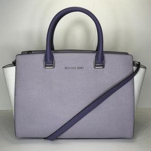 Michael Kors LG Selma Satchel Lilac/White/Violet